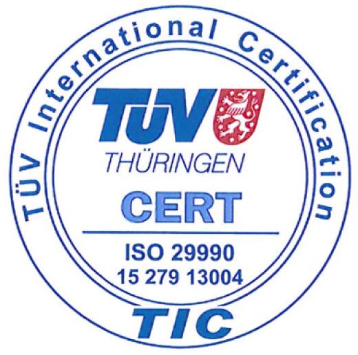TÜV-Zert ISO29990-Siegel