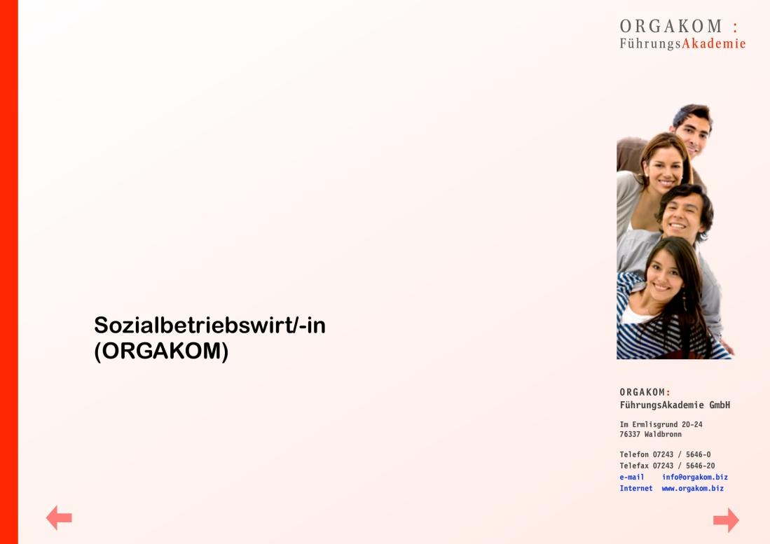 Sozialbetriebswirt/in - ORGAKOM